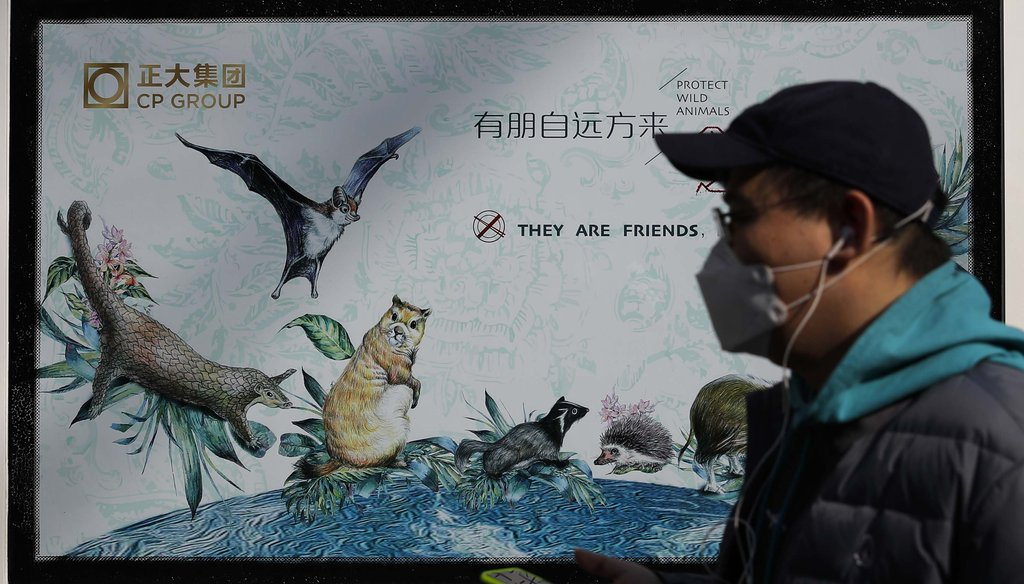 A man wearing a protective face mask walks by a poster in Beijing promoting the protection of wildlife, on March 11, 2020. (AP)