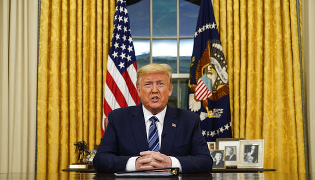 President Donald Trump speaks in an address to the nation from the Oval Office at the White House about the coronavirus, March, 11, 2020, in Washington. (Doug Mills/The New York Times via AP, Pool)