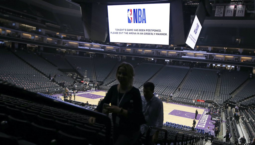 Fans leave the Golden 1 Center after the NBA basketball game between the New Orleans Pelicans and Sacramento Kings was postponed at the last minute in Sacramento, Calif., on March 11, 2020. (AP)