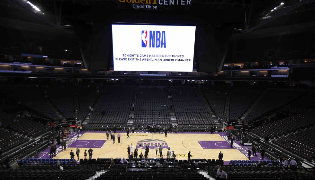 The Golden 1 Center center empties out after the NBA basketball game between the New Orleans Pelicans and Sacramento Kings was postponed at the last minute in Sacramento, Calif., on March 11, 2020. (AP)