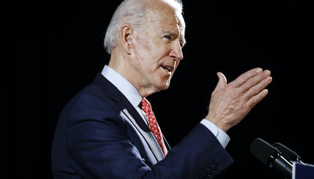 Democratic presidential candidate Joe Biden speaks about the coronavirus on March 12, 2020, in Wilmington, Del. (AP)