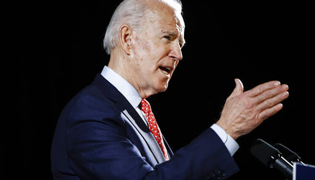 Democratic presidential candidate and former Vice President Joe Biden speaks about the coronavirus on March 12, 2020, in Wilmington, Del. (AP/Rourke)