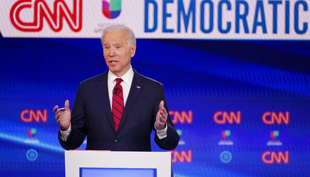 Vice President Joe Biden, participates in a Democratic presidential primary debate with Sen. Bernie Sanders, I-Vt., at CNN Studios, March 15, 2020, in Washington. (AP/Evan Vucci)