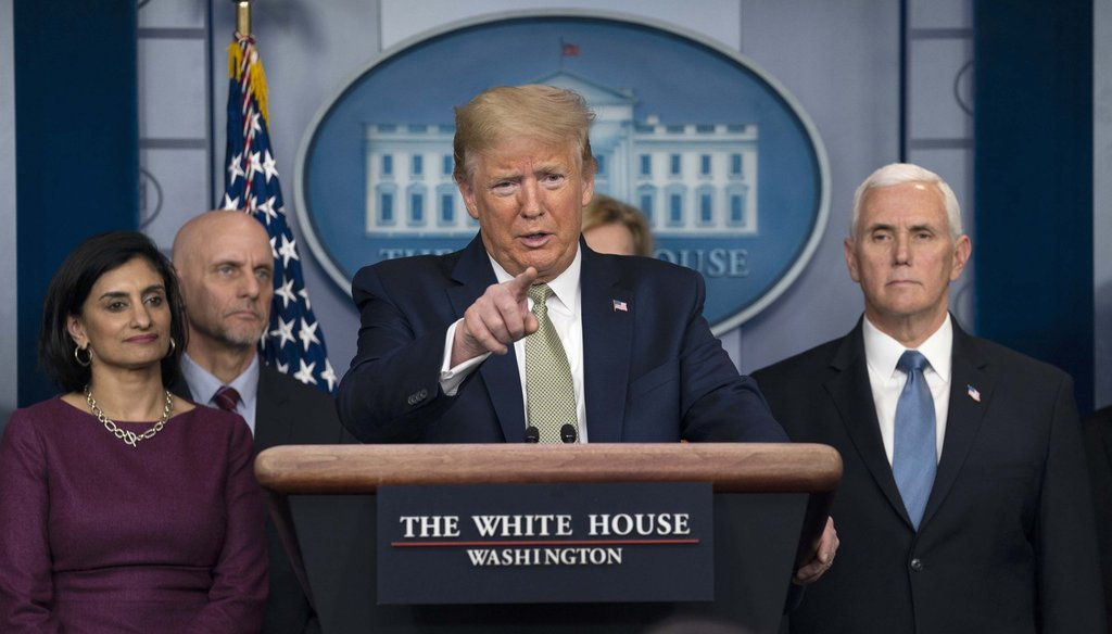 President Donald Trump speaks during a press briefing with the coronavirus task force, at the White House on March 17, 2020, in Washington. (AP)