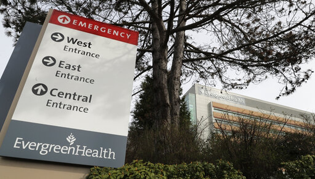 A sign for EvergreenHealth Medical Center is shown on March 17, 2020, in Kirkland, Washington. (AP/Warren)