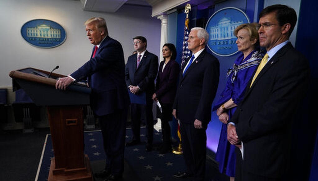 President Donald Trump speaks during press briefing with the Coronavirus Task Force, at the White House, March 18, 2020, in Washington. (AP/Evan Vucci)