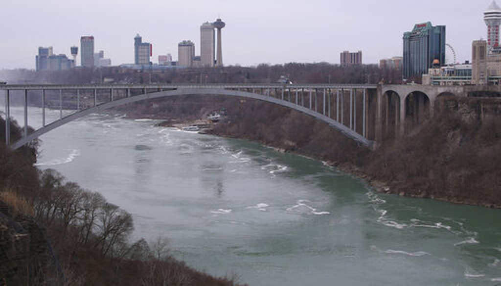 The Rainbow Bridge connecting Niagara Falls, N.Y., left, to Niagara Falls, Ontario, on March 18, 2020. The Canada-U.S. border was closed to non-essential traffic to contain the coronavirus. (AP)