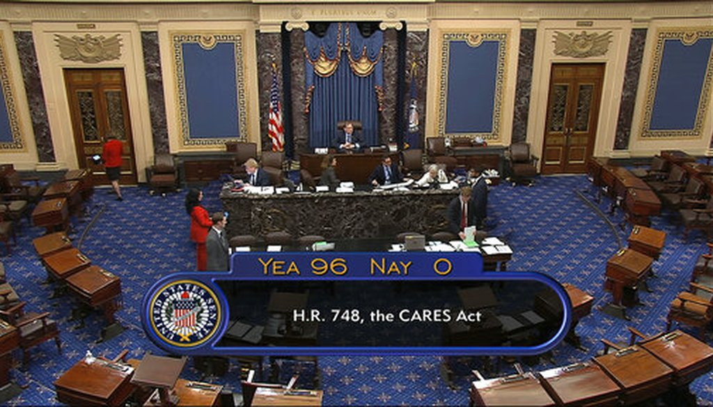 The final vote of 96-0 shows passage of the $2.2 trillion economic rescue package in response to coronavirus pandemic on March 25, 2020. (Senate Television via AP)