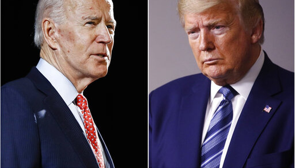 In this combination of file photos, former Vice President Joe Biden speaks in Wilmington, Del., on March 12, 2020, left, and President Donald Trump speaks at the White House in Washington on April 5, 2020. (AP)
