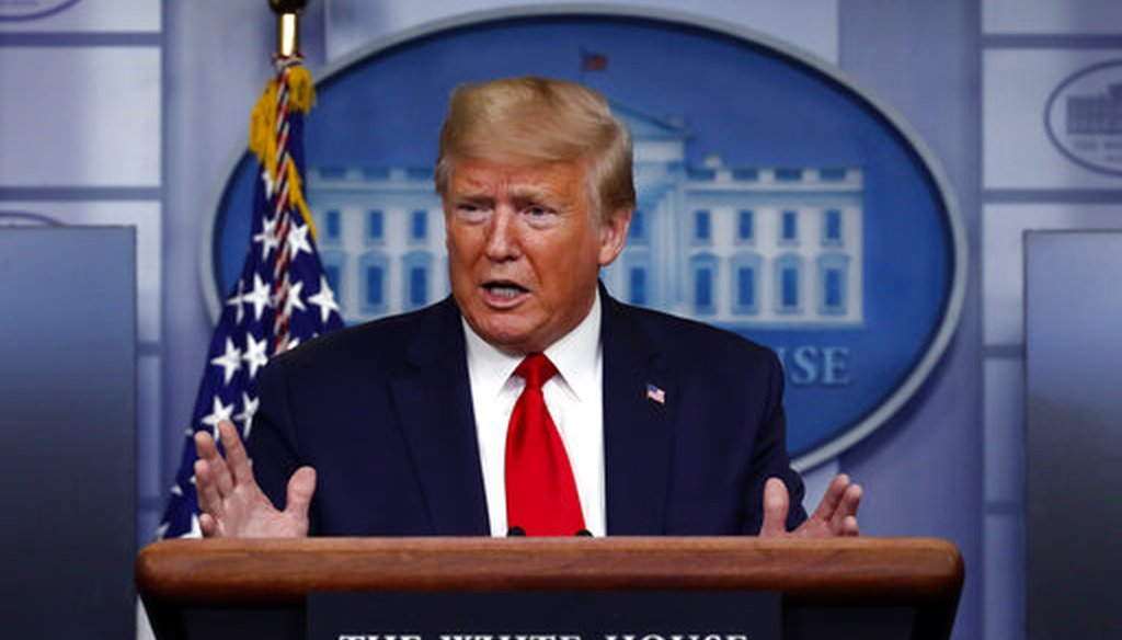 President Donald Trump speaks about the coronavirus in the James Brady Press Briefing Room of the White House, Wednesday, April 8, 2020. (AP Photo/Alex Brandon)
