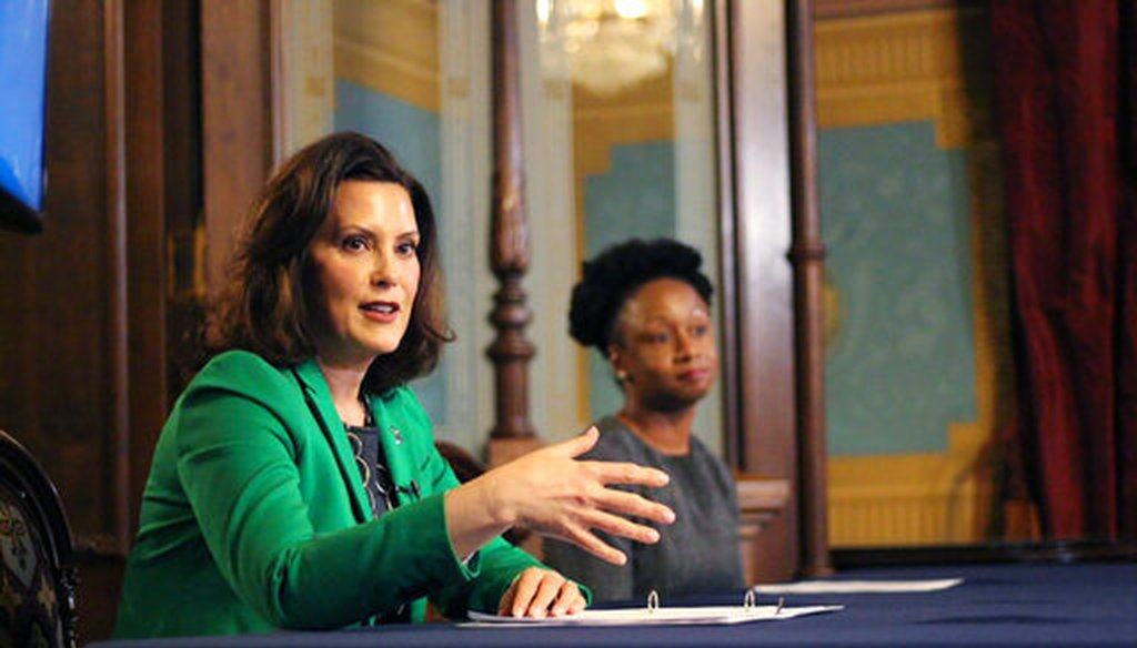 Michigan Gov. Gretchen Whitmer discusses details of her executive order on April 9, 2020, in Lansing (AP).
