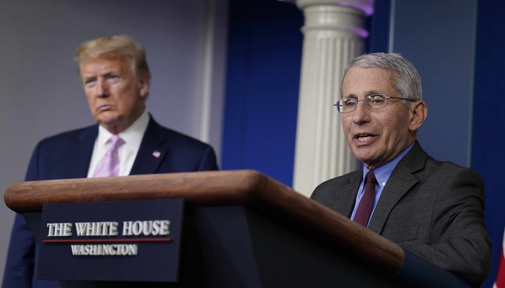 President Donald Trump listens as Director of the National Institute of Allergy and Infectious Diseases Dr. Anthony Fauci speaks during a coronavirus task force briefing at the White House on April 10, 2020, in Washington. (AP)