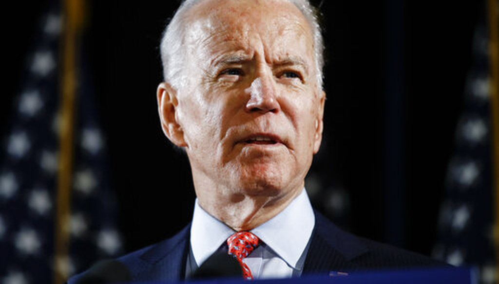 In this March 12, 2020, file photo, Democratic presidential candidate former Vice President Joe Biden speaks in Wilmington, Del. (AP/Matt Rourke)