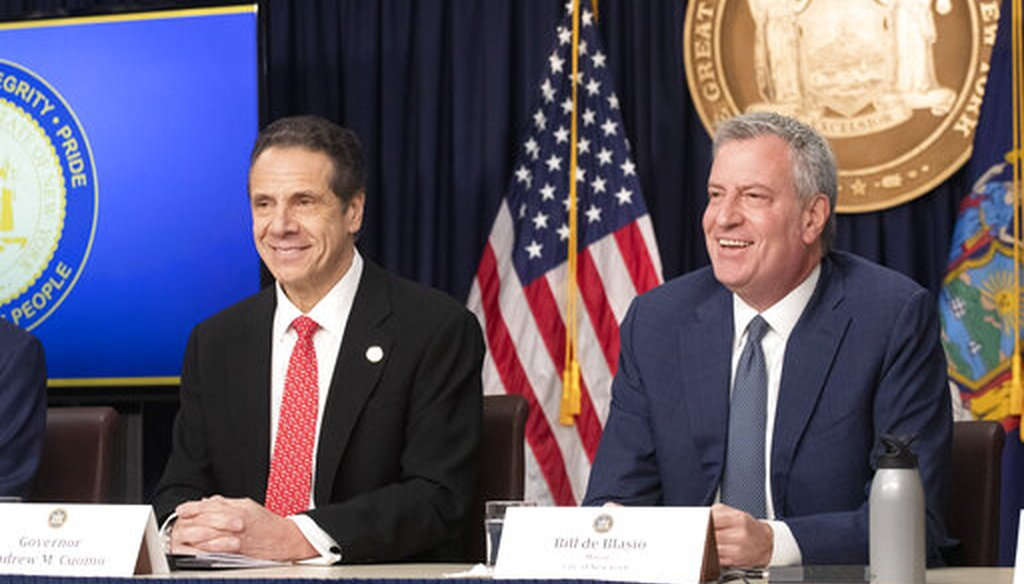 New York Gov. Andrew Cuomo, left, and New York City Mayor Bill de Blasio discuss the state and city's preparedness for the spread of coronavirus at a news conference on March 2, 2020. (AP)