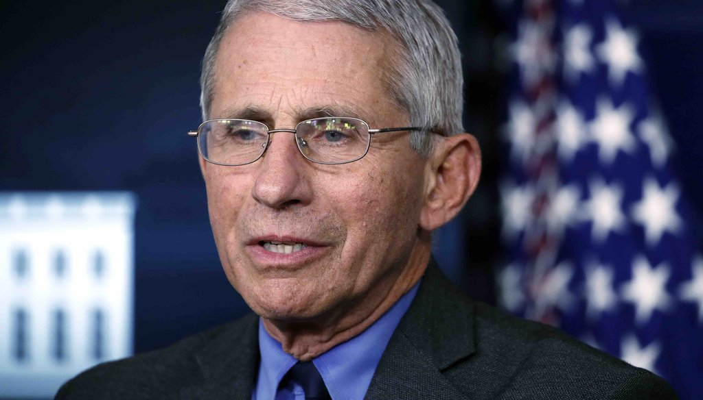 In this April 13, 2020 file photo, Dr. Anthony Fauci, director of the National Institute of Allergy and Infectious Diseases, speaks about the coronavirus in the James Brady Press Briefing Room at the White House in Washington. (AP)