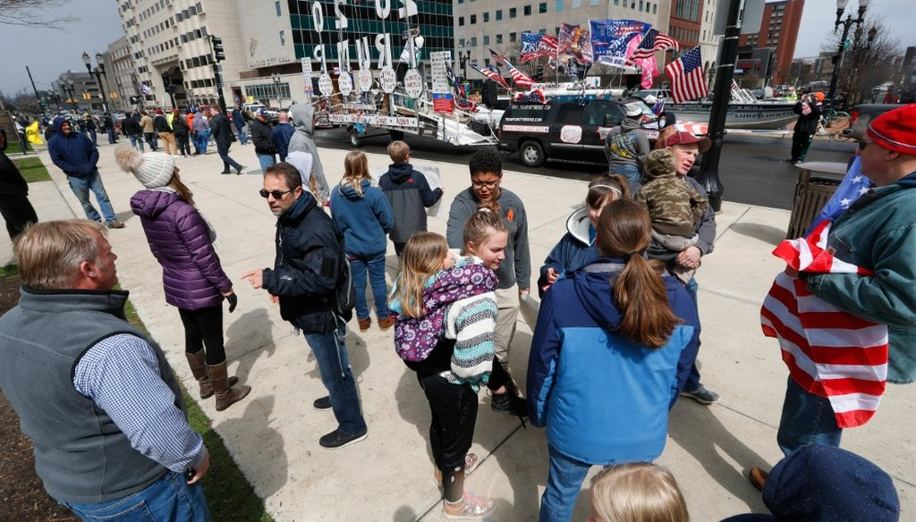 People stand near the Michigan State Capitol to view a protest in Lansing, Mich., on April 15, 2020, over a stay-at-home order issued by Gov. Gretchen Whitmer in response to the coronavirus pandemic. (AP)