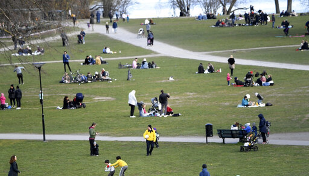 People visit Rålambshovsparken Park in Stockholm, Sweden, on April 18, 2020. Sweden has reported a sharp spike in COVID-19 deaths, and authorities have advised the public to practice social distancing, but no widespread lockdown has been imposed. (AP)
