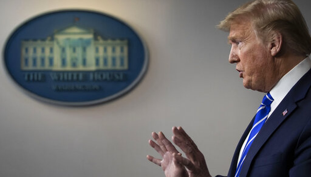 President Donald Trump speaks about the coronavirus in the White House on April 23, 2020, in Washington. (AP/Brandon)