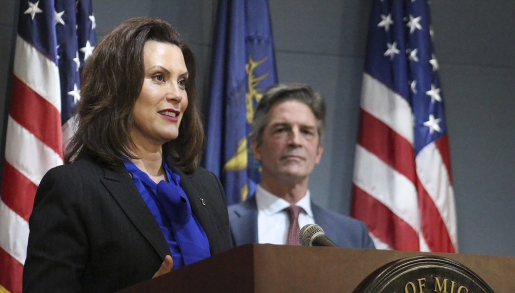 In a pool photo provided by the Michigan Office of the Governor, Michigan Gov. Gretchen Whitmer addresses the state during a speech in Lansing, Mich., on April 27, 2020. (Michigan Office of the Governor via AP)