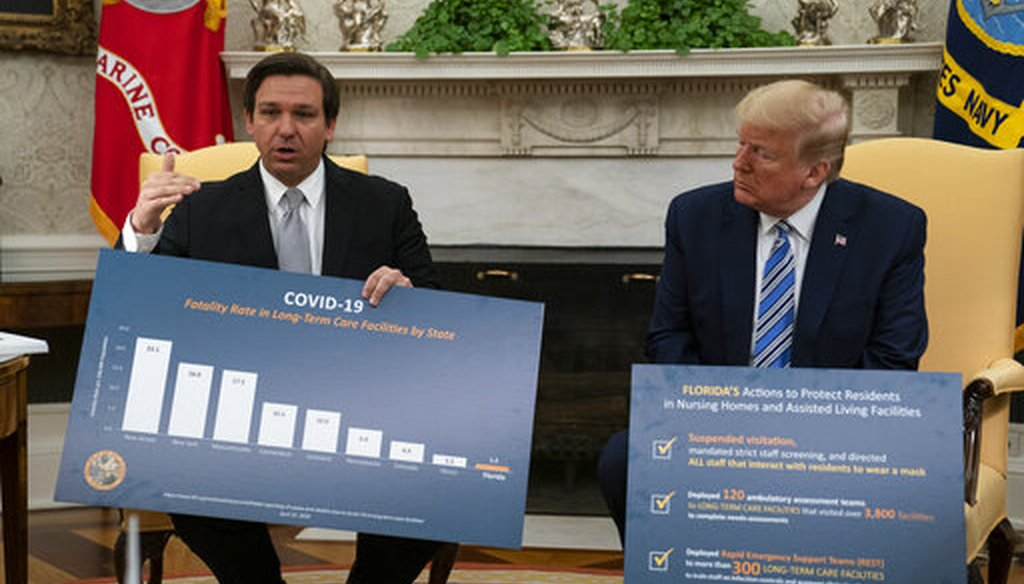 President Donald Trump listens as Gov. Ron DeSantis, R-Fla., talks about the coronavirus response during a meeting in the Oval Office of the White House, April 28, 2020. (AP/Evan Vucci)