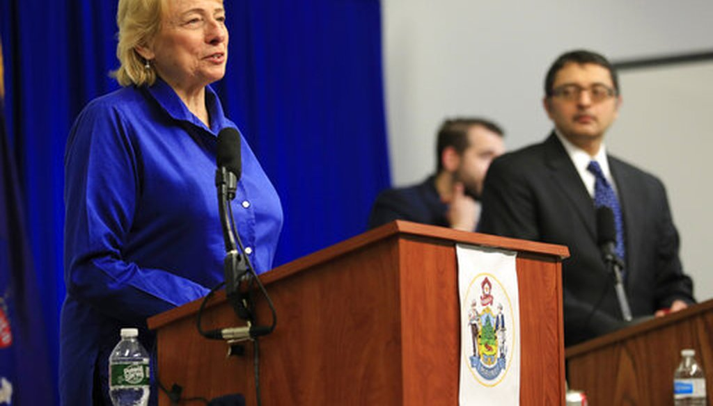 Maine Gov. Janet Mills speaks at a news conference on the coronavirus on April 28, 2020, in Augusta, Maine. (AP)
