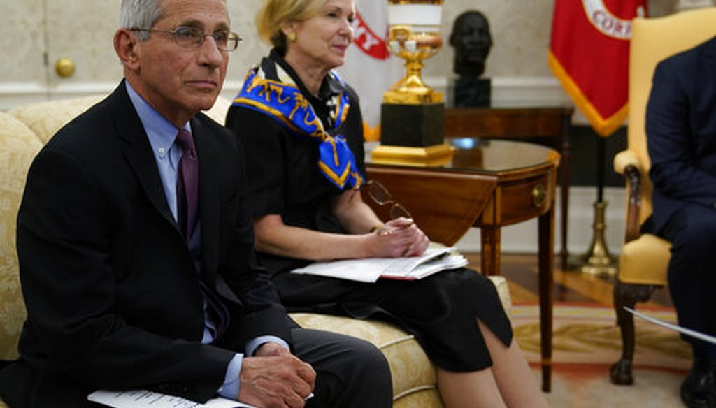 Drs. Anthony Fauci and Deborah Birx attend an Oval Office meeting about the coronavirus on April 29, 2020. Fauci announced positive results of a clinical trial of the drug remdesivir. (AP)