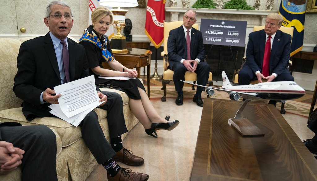 Dr. Anthony Fauci speaks at a meeting with President Donald Trump and Gov. John Bel Edwards, D-La., about the coronavirus response, in the White House Oval Office on April 29, 2020. From left, Fauci, Dr. Deborah Birx, Bel Edwards, and Trump. (AP)