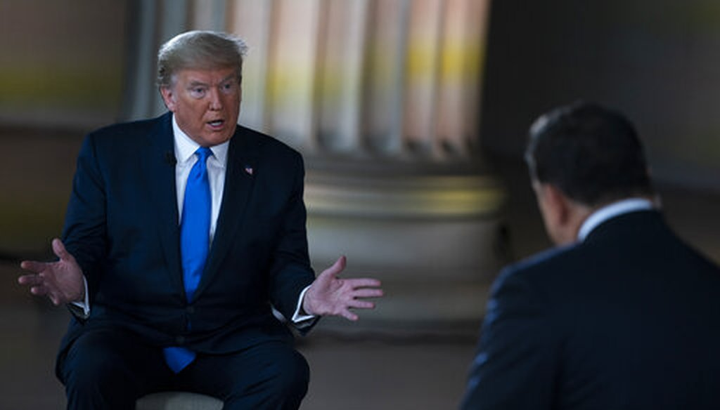 President Donald Trump speaks during a Fox News virtual town hall from the Lincoln Memorial on May 3, 2020, in Washington. (AP/Vucci)