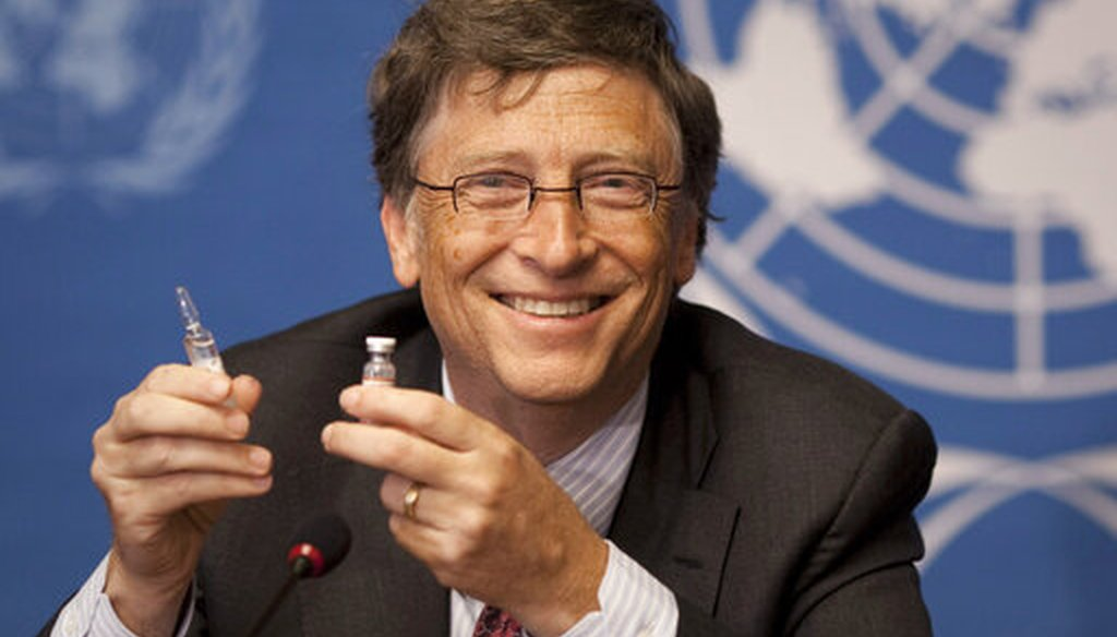 Microsoft founder Bill Gates holds a vaccine for meningitis during a news conference at the United Nations headquarters in Geneva, Switzerland. On Friday, May 8, 2020 (AP Photo)