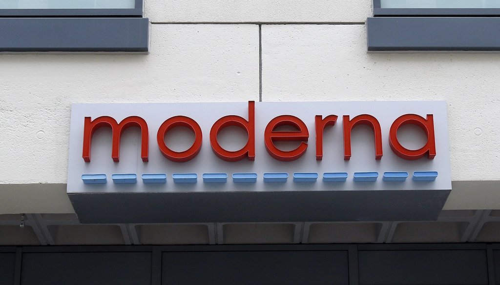 A sign marks an entrance to a Moderna, Inc., building, Monday, May 18, 2020, in Cambridge, Mass. (AP)