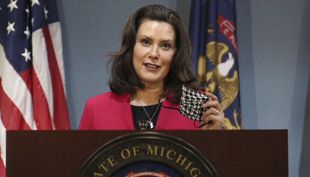 In this May 21, 2020, file photo provided by the Michigan Office of the Governor, Michigan Gov. Gretchen Whitmer speeks during a news conference in Lansing, Mich. (AP)
