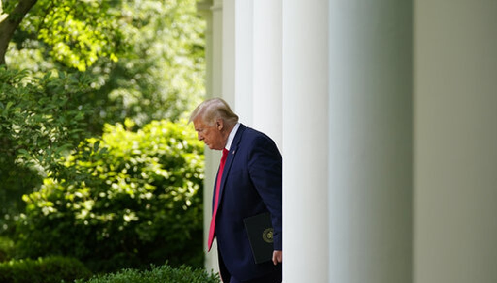 President Donald Trump arrives at an event in the White House Rose Garden on May 26, 2020, in Washington. (AP/Vucci)