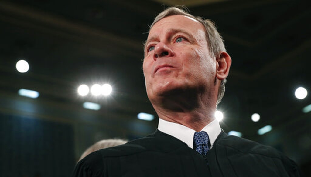 Supreme Court Chief Justice John Roberts arrives before President Donald Trump's State of the Union address to Congress on Capitol Hill in Washington on Feb. 4, 2020. (AP/Millis)