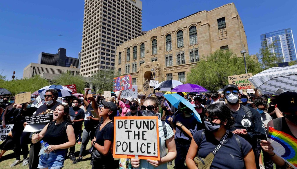 Protesters rally on June 3, 2020, in Phoenix, demanding that the Phoenix City Council defund the Phoenix Police Department. (AP)
