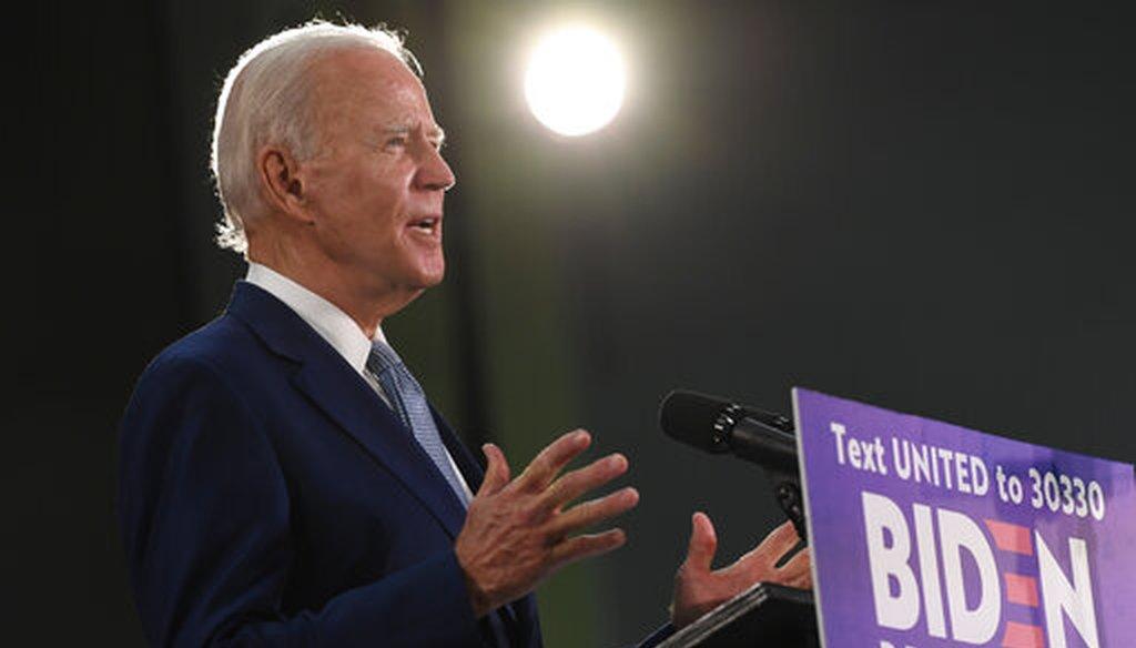 Former Vice President Joe Biden speaks during an event in Dover, Del., on June 5, 2020. (AP/Walsh)