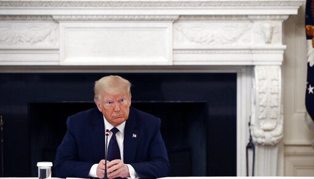 President Donald Trump listens during a roundtable discussion with law enforcement officials on June 8, 2020, in the White House in Washington. (AP/Semansky)