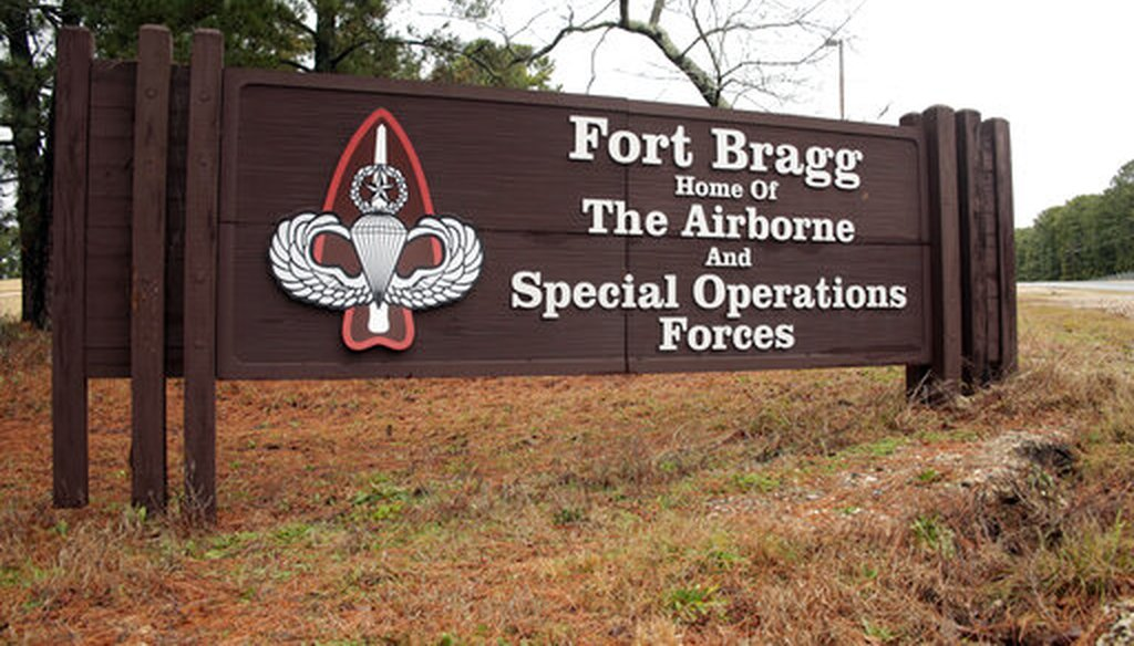 A sign at Fort Bragg in North Carolina, named for a Confederate general. (AP)