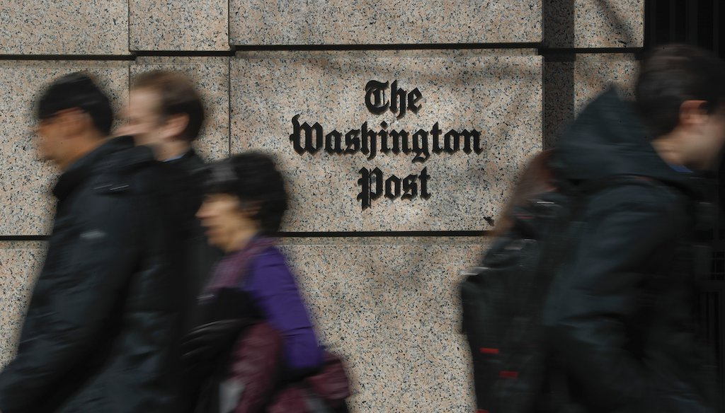 The One Franklin Square Building, home of The Washington Post newspaper, is shown in Washington on Feb. 21, 2019. (AP/Monsivais)