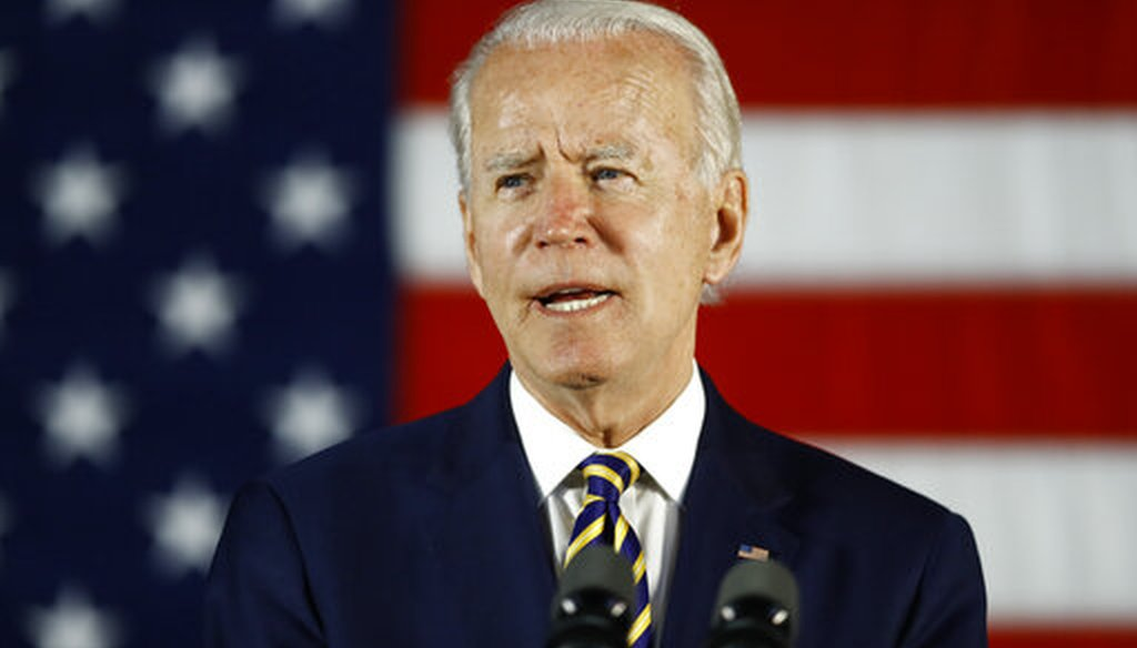 Democratic presidential candidate, former Vice President Joe Biden speaks in Darby, Pa., on June 17, 2020. (AP)