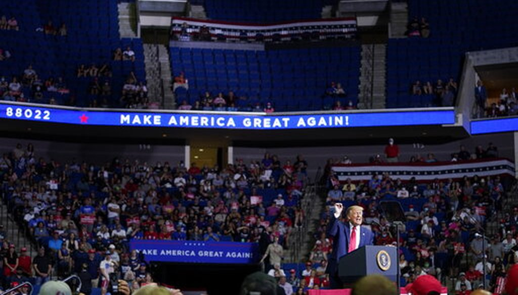 President Donald Trump speaks during a campaign rally at the BOK Center on June 20, 2020, in Tulsa, Okla. (AP/Vucci)