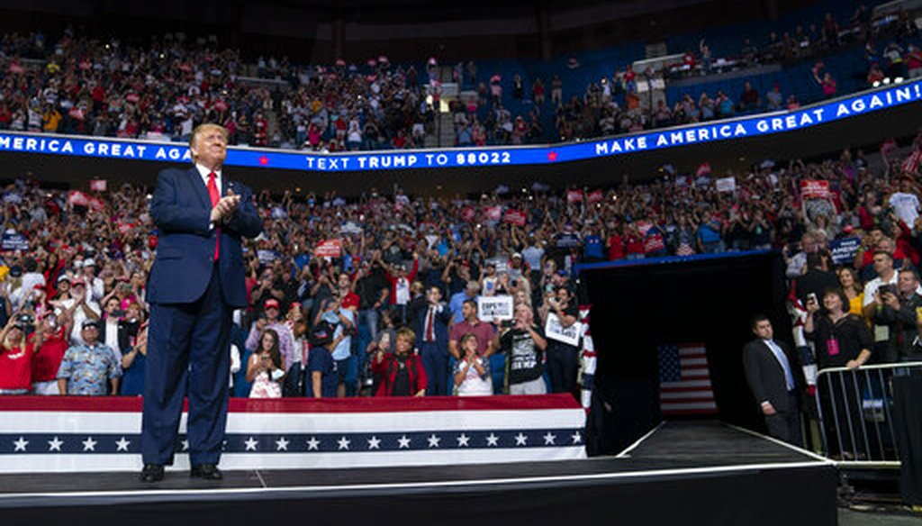 President Donald Trump arrives on the ramp to the stage at a campaign rally at the BOK Center on June 20, 2020, in Tulsa, Okla. (AP/Vucci)