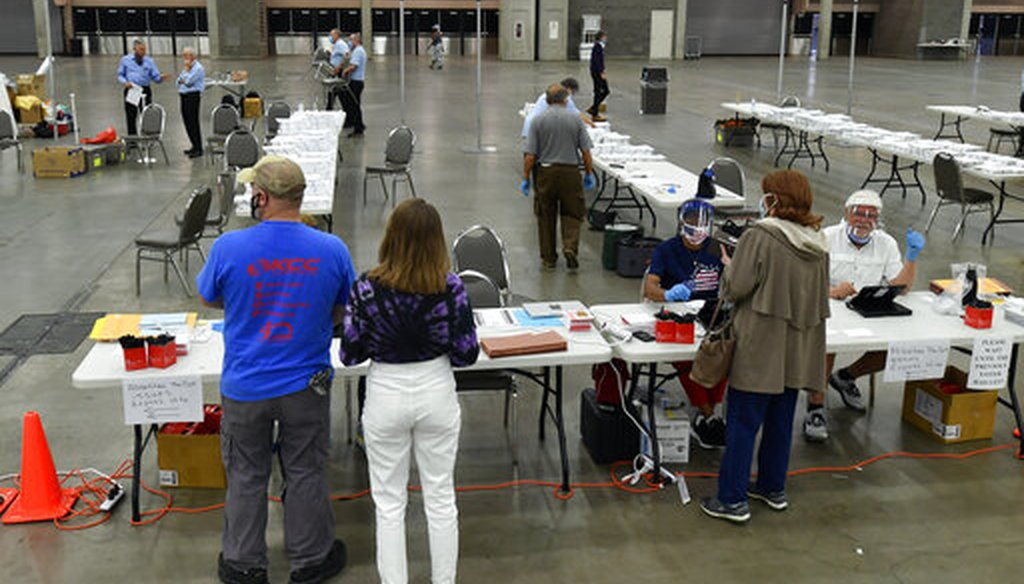 Voters casts their ballots in the Kentucky primary at the Kentucky Exposition Center in Louisville, Ky., on June 23, 2020. (AP)