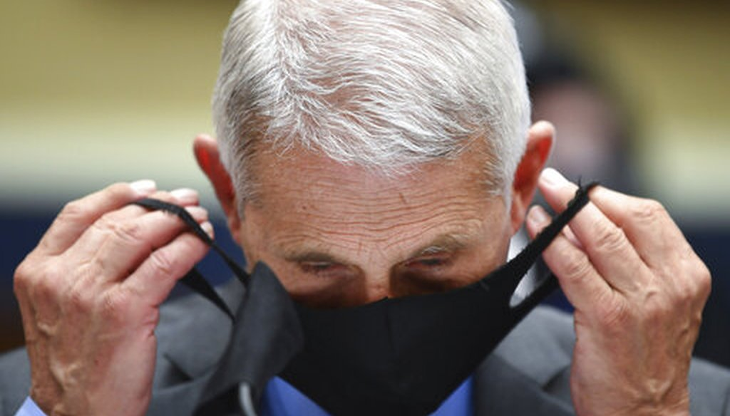 Dr. Anthony Fauci, director of the National Institute of Allergy, and Infectious Diseases, prepares to testify before a House committee on June 23, 2020. (AP)