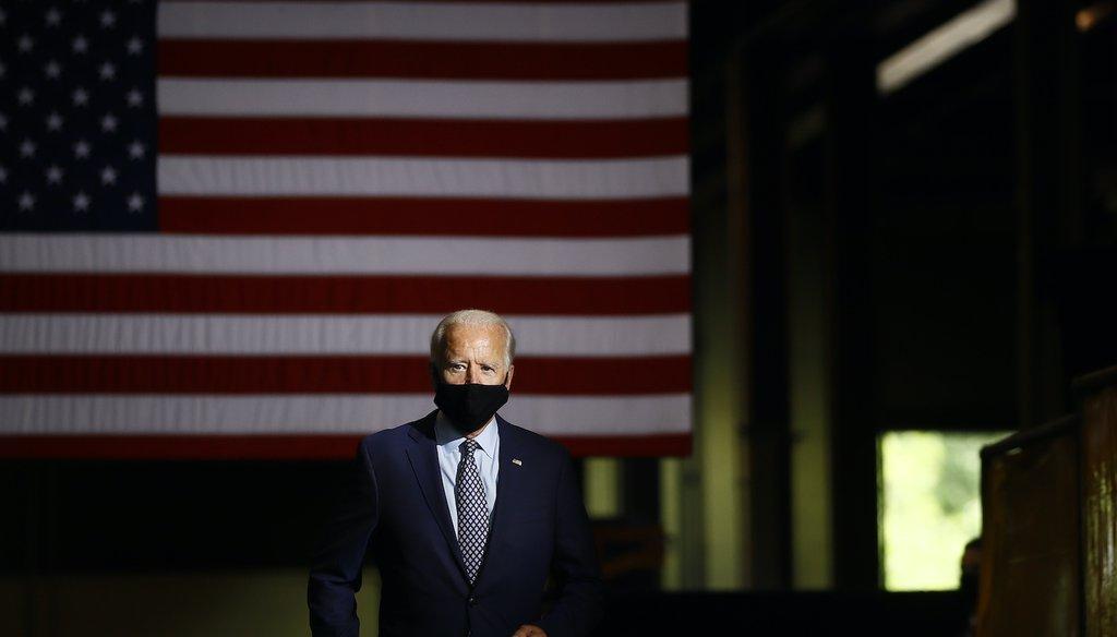Joe Biden arrives to speak in Dunmore, Pa., in July 2020. (AP)