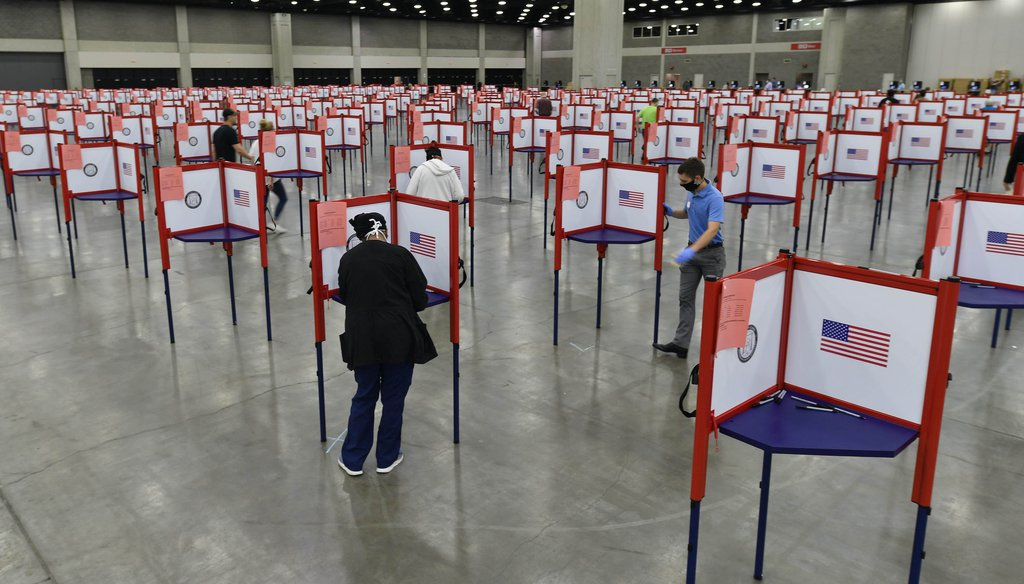 In this June 23, 2020, file photo voting stations are set up in the South Wing of the Kentucky Exposition Center for voters to cast their ballot in the Kentucky primary in Louisville, Ky. (AP)