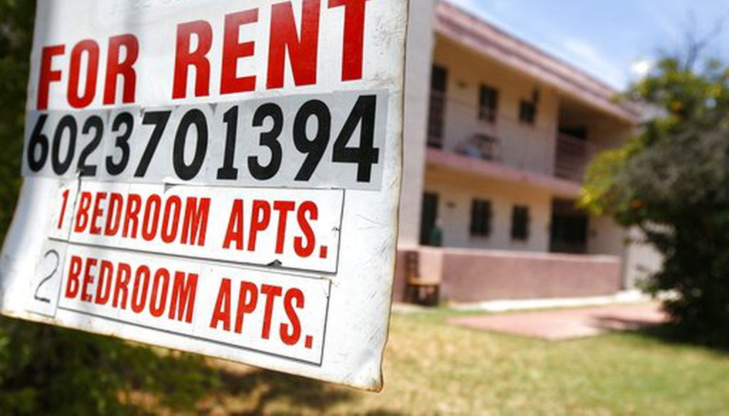 A rental sign in front of an apartment complex in Phoenix on July 14, 2020. (AP)