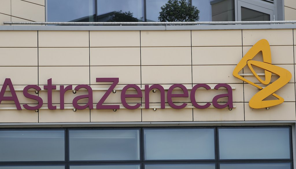 A general view of AstraZeneca offices and the corporate logo in Cambridge, England. (AP)