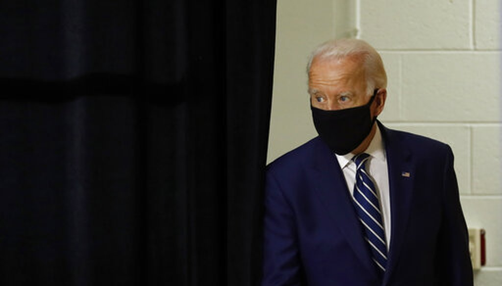 Democratic presidential candidate former Vice President Joe Biden arrives to speak at a campaign event at the Colonial Early Education Program at the Colwyck Training Center, Tuesday, July 21, 2020, in New Castle, Del. (AP Photo)
