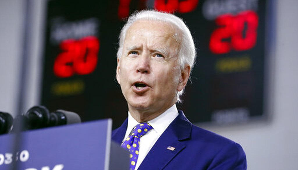 "Democratic presidential candidate and former Vice President Joe Biden speaks at a campaign event at the William ""Hicks"" Anderson Community Center in Wilmington, Del., on July 28, 2020. (AP/Harnik)"