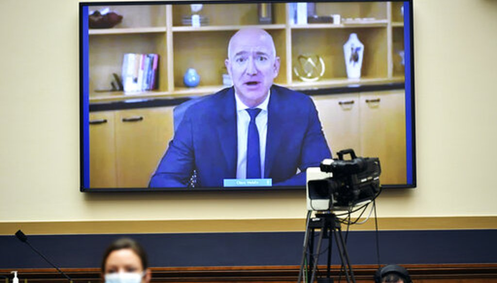 Amazon CEO Jeff Bezos testifies remotely during a House Judiciary subcommittee on antitrust on Capitol Hill on Wednesday, July 29, 2020, in Washington. (AP)
